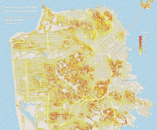 A map of San Francisco with streets colored by slope.