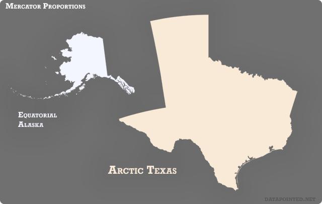 Mercator, Equatorial Alaska-Arctic Texas