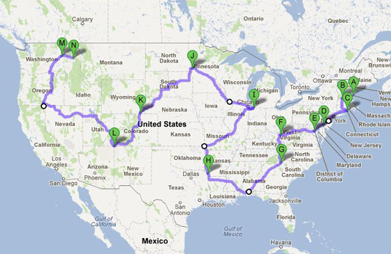 A very short route that touches each of the Lower 48 states.