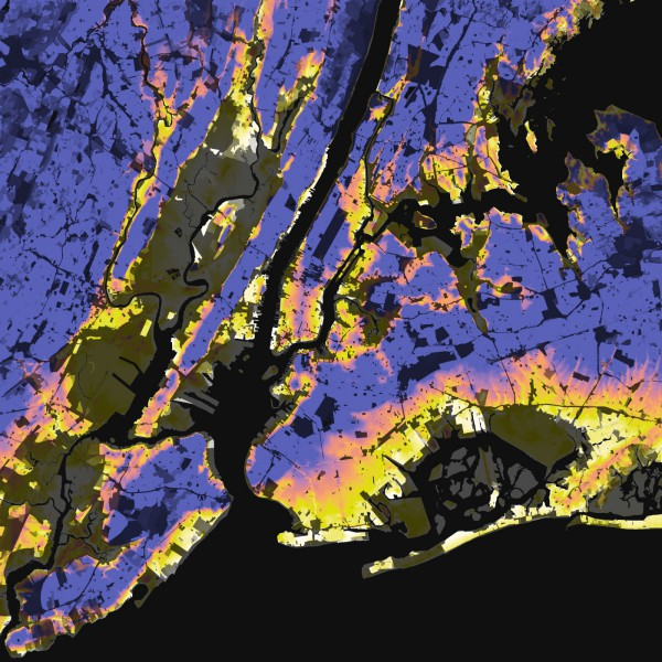 New York City, Elevation And Population Density, 2010